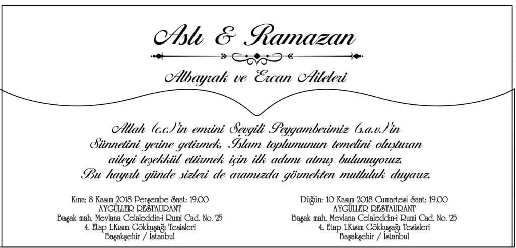 Aslı ALBAYRAK VE Ramazan ERCAN Çiftinin Düğün Törenine Davetlisiniz