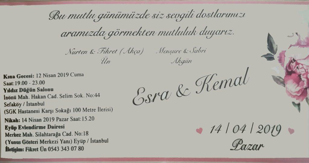 Esra ÜN & Kemal AKGÜN'ün Nikah Töreni Davetlisiniz