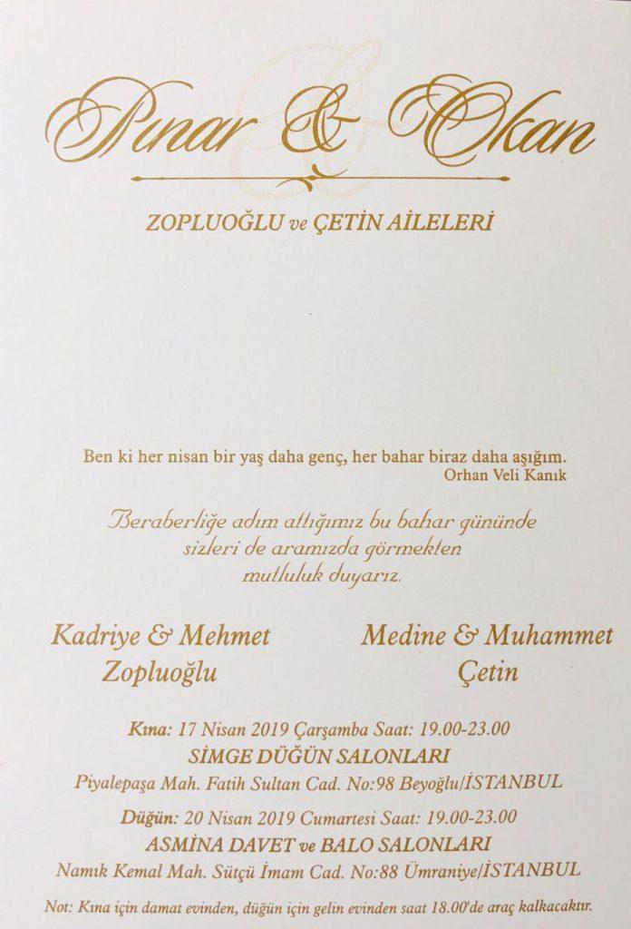 Pınar ZOPLUOĞLU & Okan ÇETİN'İN Nikah Törenine Davetlisiniz