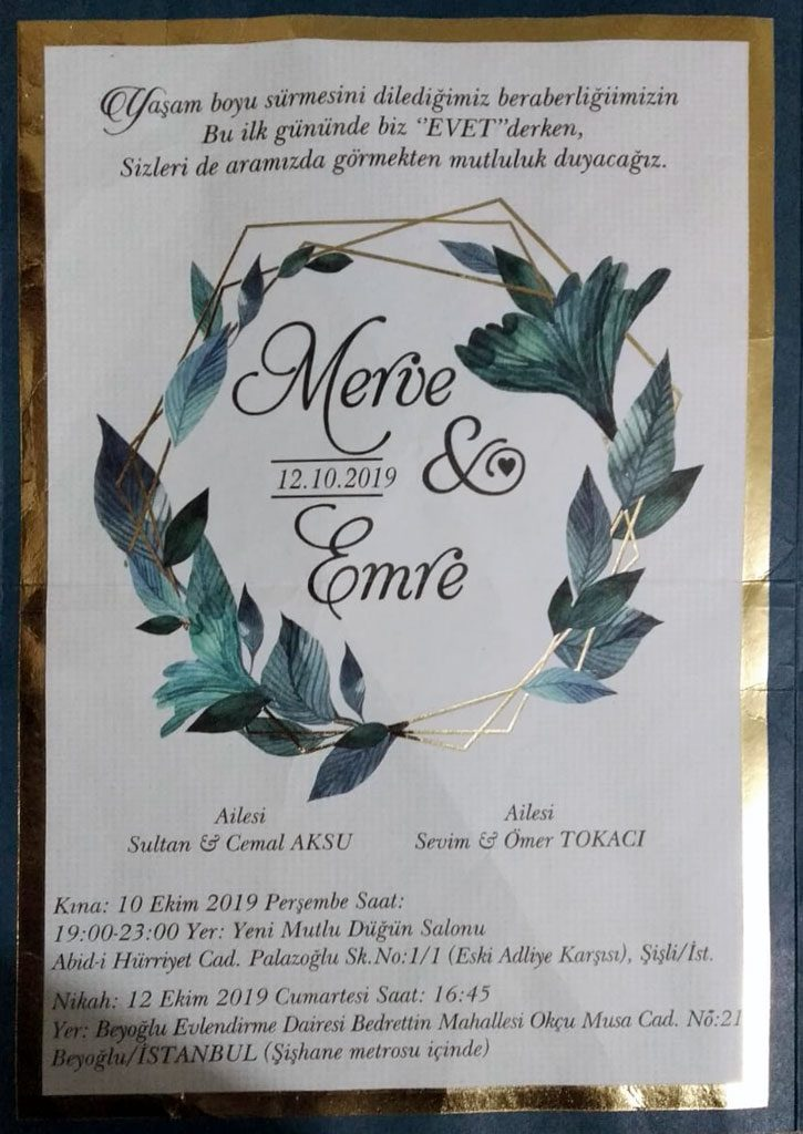 Merve AKSU & Emre TOKACI'nın Beyoğlu Evlendirme Dairesinde ki Nikah Törenine Davetlisiniz
