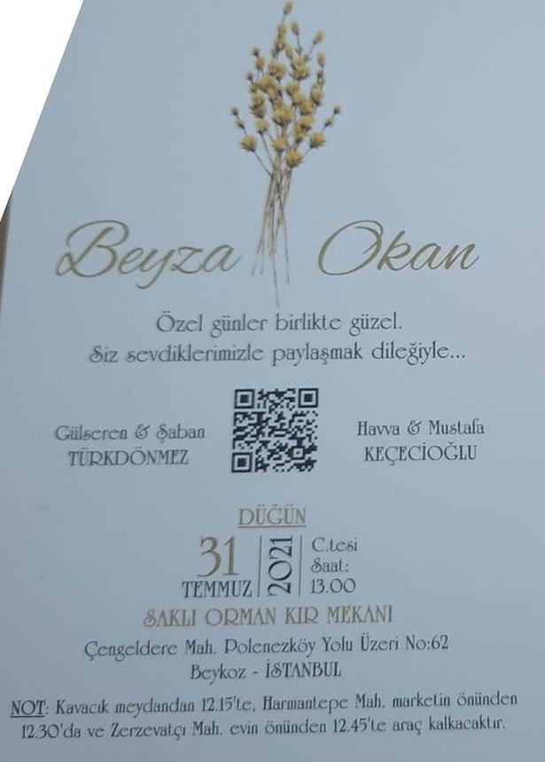 Beyza Türkdönmez & Okan Keçecioğlu'nun Düğün Törenine Davetlisiniz